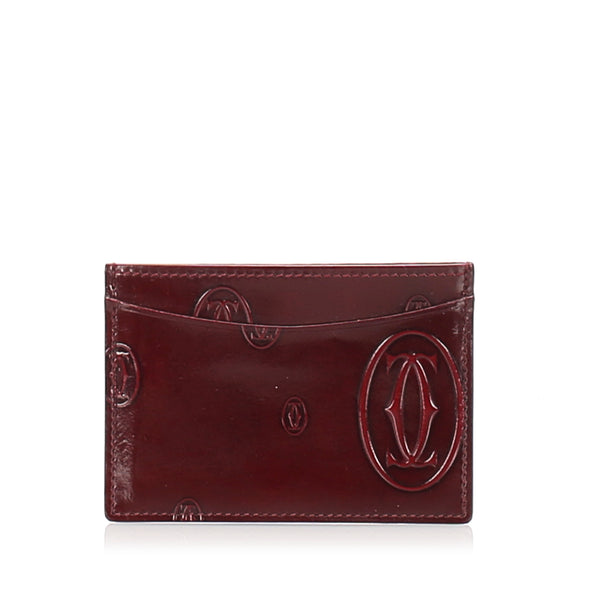 Red Cartier Happy Birthday Patent Leather Card Holder