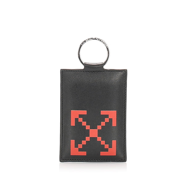 Black Off White Printed Leather Card Holder