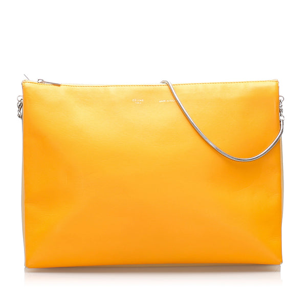 Yellow Celine Trio Chain Leather Shoulder Bag
