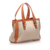 White Celine Macadam Canvas Tote Bag