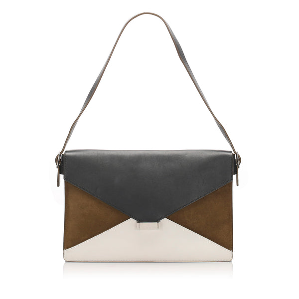 Black Celine Diamond Leather Shoulder Bag