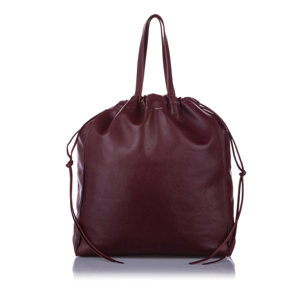 Red Celine Coulisse Leather Tote Bag