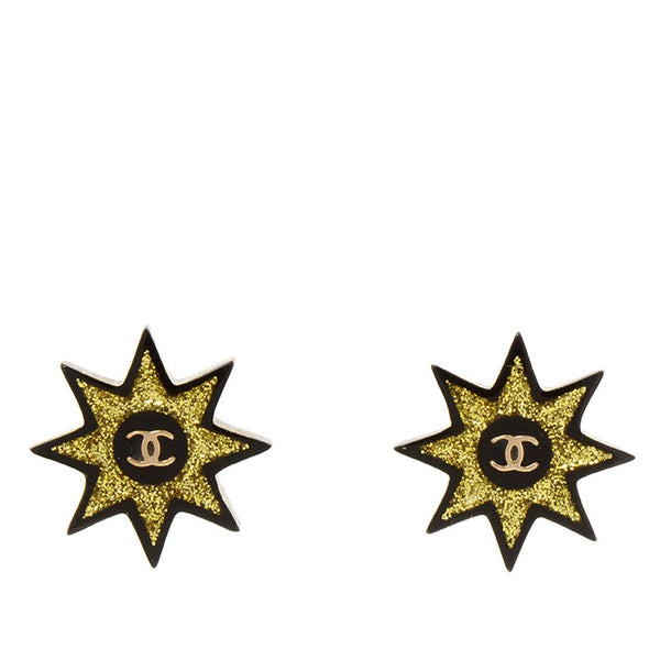 Black Chanel CC Earrings