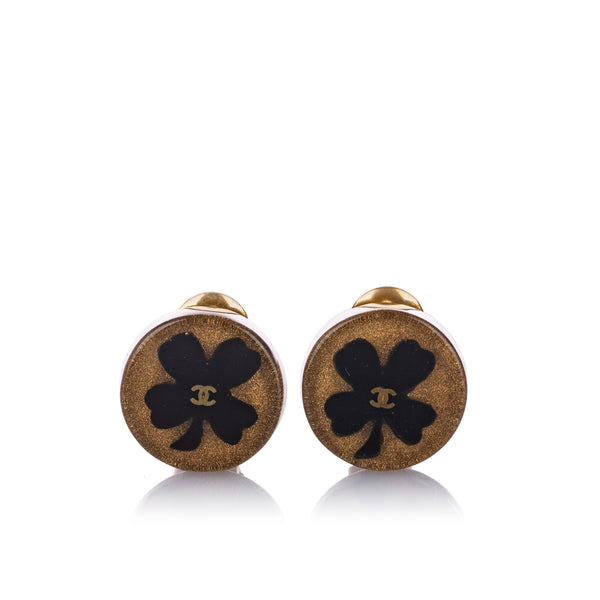 Black Chanel CC Clover Clip-on Earrings