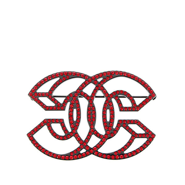 Red Chanel CC Rhinestone Brooch