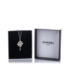 Silver Chanel CC Rhinestone Pendant Necklace
