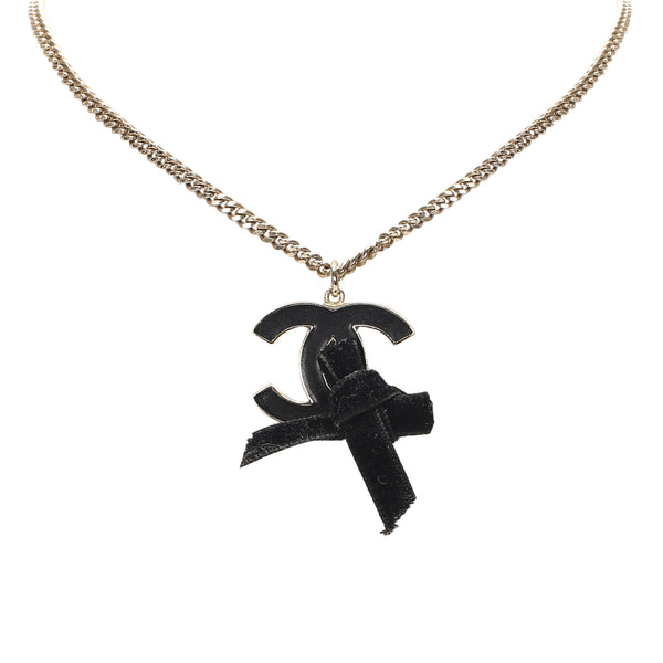 Black Chanel CC Ribbon Pendant Necklace