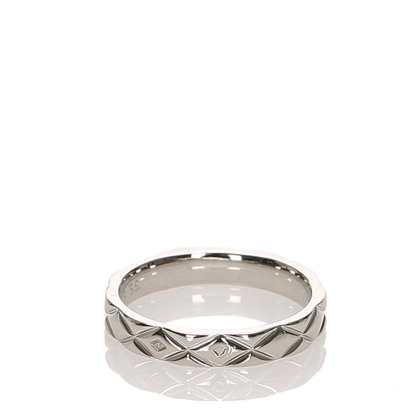 Silver Chanel Matelasse Ring