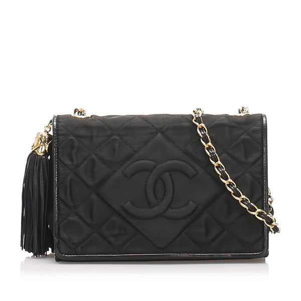 Black Chanel CC Satin Chain Crossbody Bag