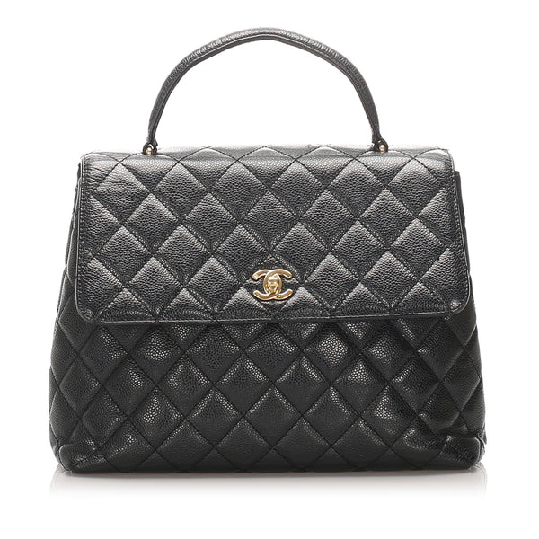 Black Chanel Kelly Caviar Leather Handbag Bag