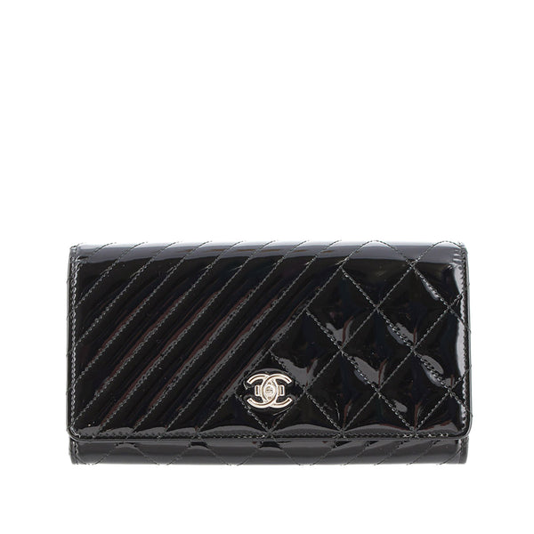 Black Chanel Coco Boy Patent Leather Flap Wallet