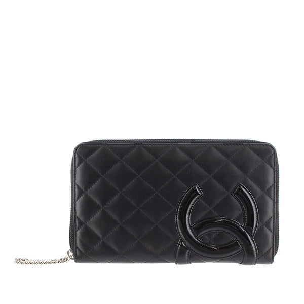 Black Chanel Cambon Ligne Lambskin Long Wallet
