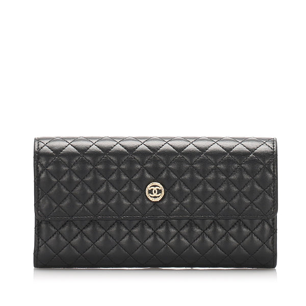Black Chanel Matelasse Lambskin Wallet
