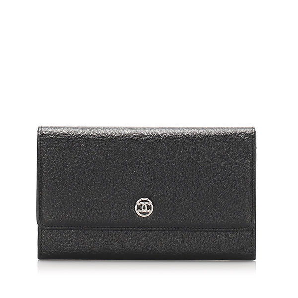 Black Chanel CC Leather Long Wallet