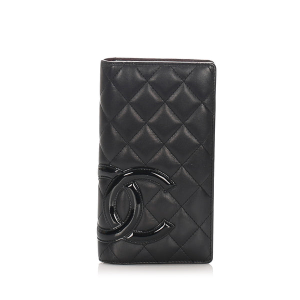 Black Chanel Cambon Ligne Lambskin Leather Long Wallet