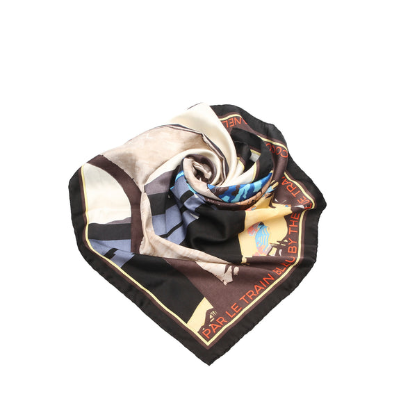 White Chanel Printed Silk Scarf