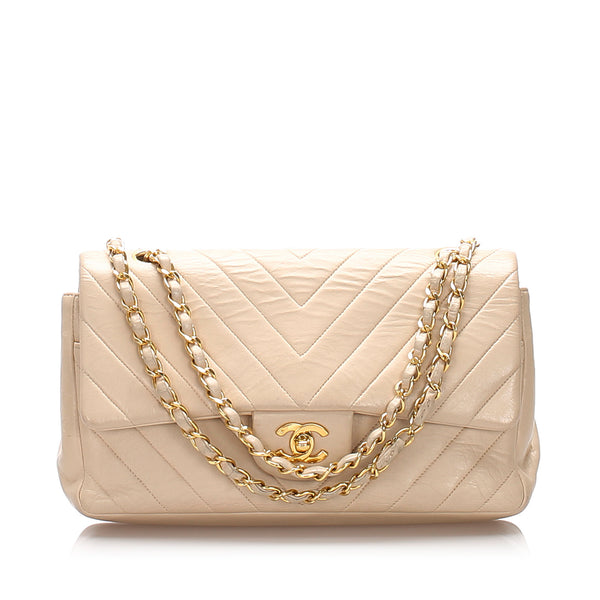 Beige Chanel Medium Chevron Lambskin Double Flap Bag