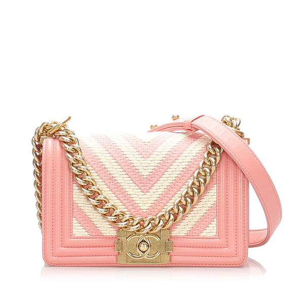 Pink Chanel Small Boy Braided Chevron Flap Bag
