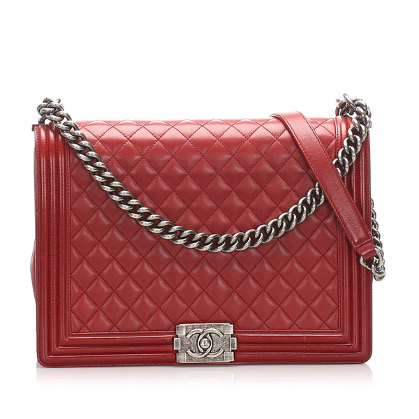 Red Chanel Large Boy Lambskin Leather Flap Bag