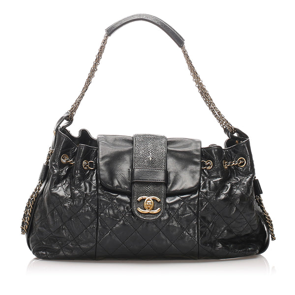 Black Chanel Accordion Bindi Stingray Trim Shoulder Bag