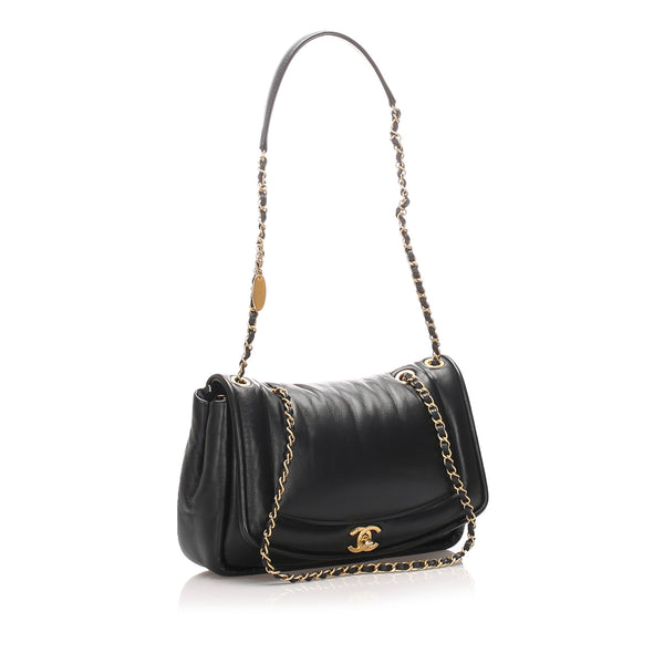 Black Chanel Diana Lambskin Leather Flap Bag