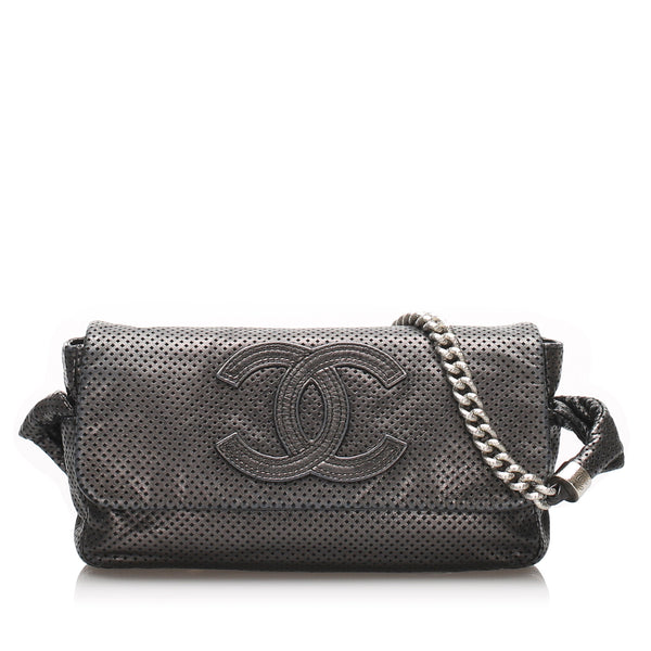 Black Chanel CC Perforated Leather Shoulder Bag