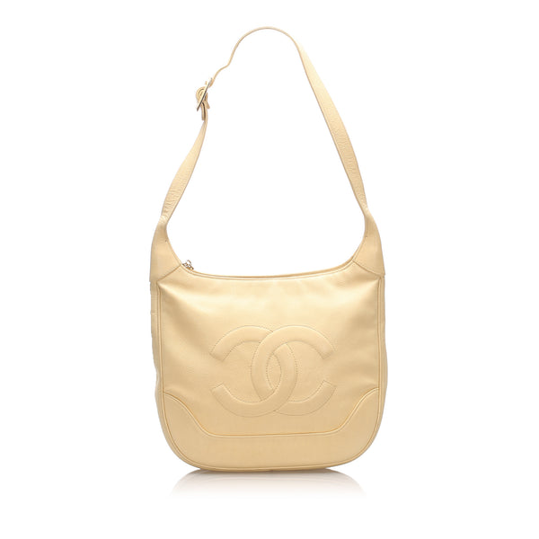 Beige Chanel CC Caviar Leather Shoulder Bag