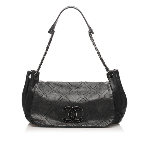 Black Chanel Accordion Leather Flap Bag