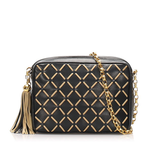 Black Chanel Matelasse Lambskin Leather Crossbody Bag