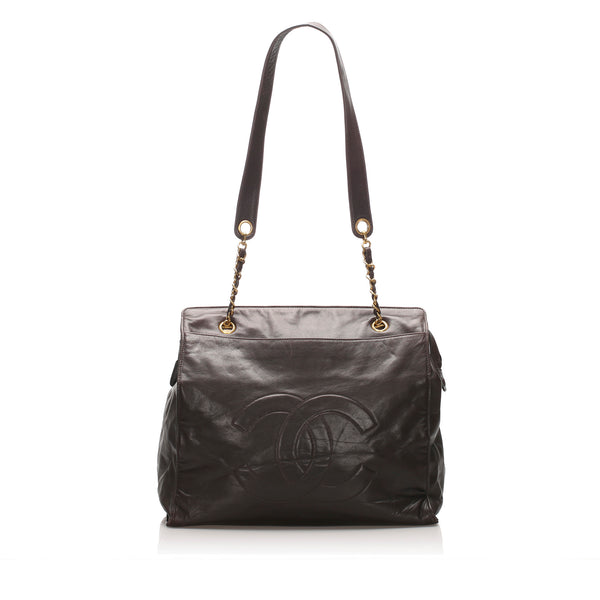 Brown Chanel CC Lambskin Leather Tote Bag