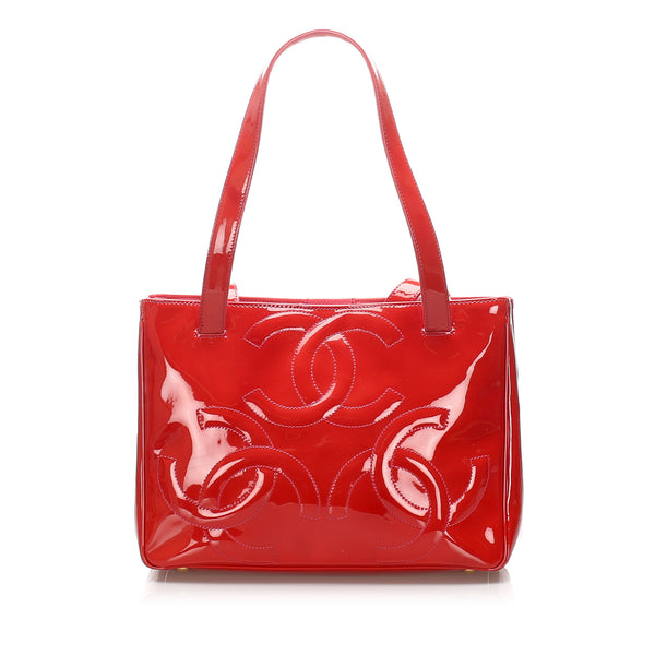 Red Chanel Triple Coco Patent Leather Tote Bag
