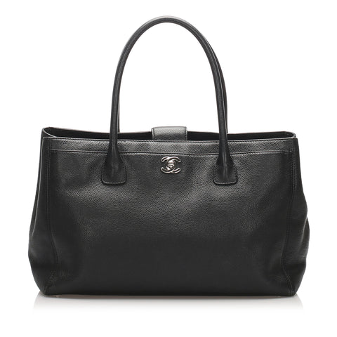 Black Chanel Executive Cerf Caviar Leather Tote Bag