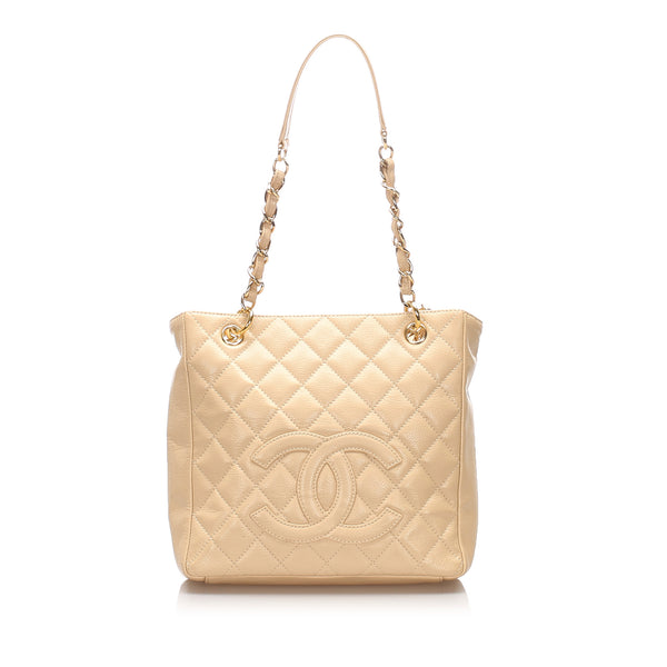 Beige Chanel Caviar Petite Shopping Tote Bag