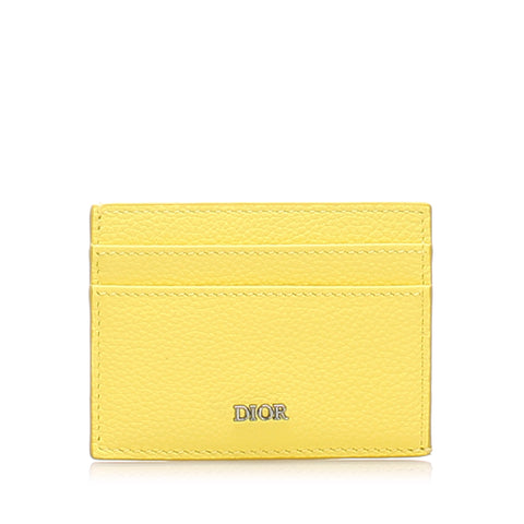 Yellow Dior Leather Card Holder