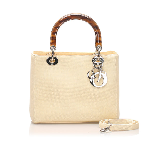 Beige Dior Lady Dior Canvas Satchel Bag