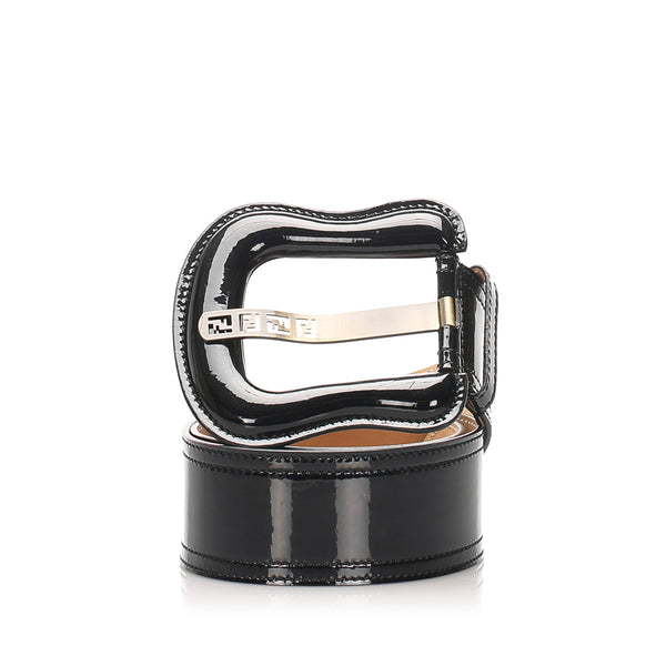 Black Fendi Patent Leather Belt