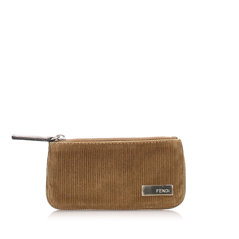 Brown Fendi Corduroy Coin Pouch