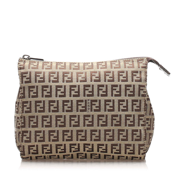 Brown Fendi Zucchino Canvas Pouch