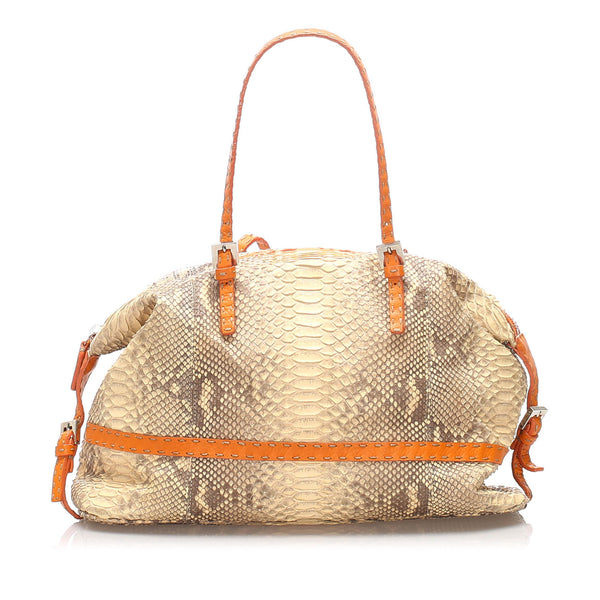 Brown Fendi Selleria Python Leather Shoulder Bag