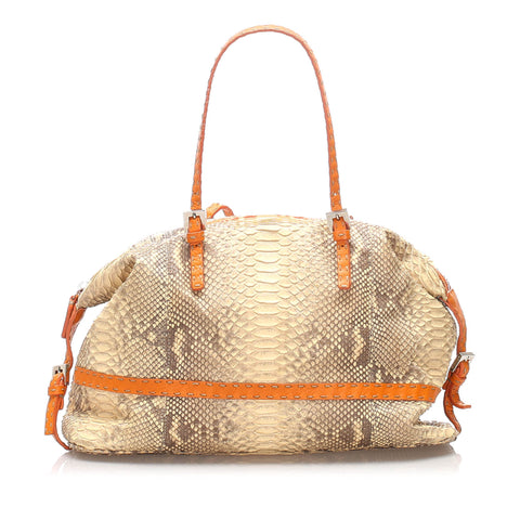 Tan Fendi Selleria Python Leather Shoulder Bag