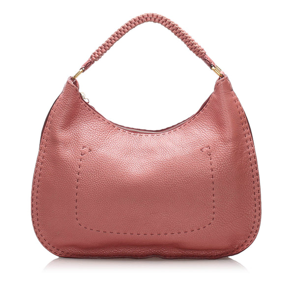 Pink Fendi Selleria Leather Shoulder Bag