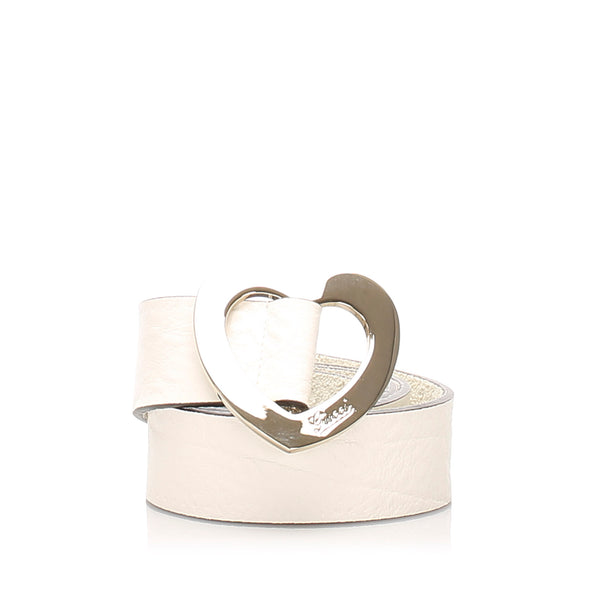 White Gucci Heart Leather Belt