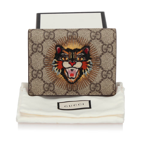 Brown Gucci GG Supreme Angry Cat Card Holder