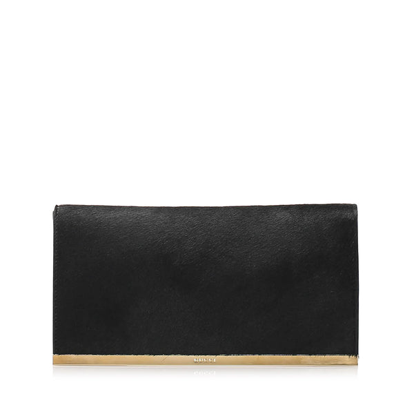 Black Gucci Pony Hair Clutch Bag