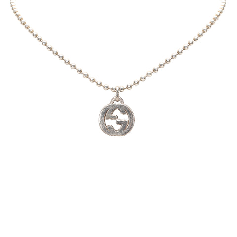 Silver Gucci Interlocking GG Pendant Necklace