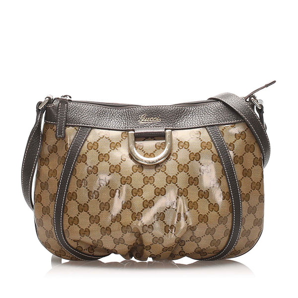 Brown Gucci GG Crystal D-Ring Crossbody Bag