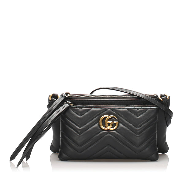 Black Gucci Marmont Leather Crossbody Bag