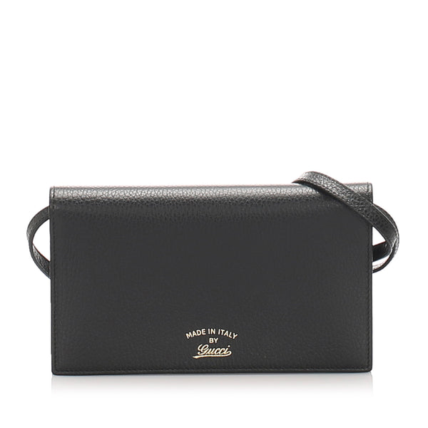 Black Gucci Swing Leather Continental Wallet on Strap