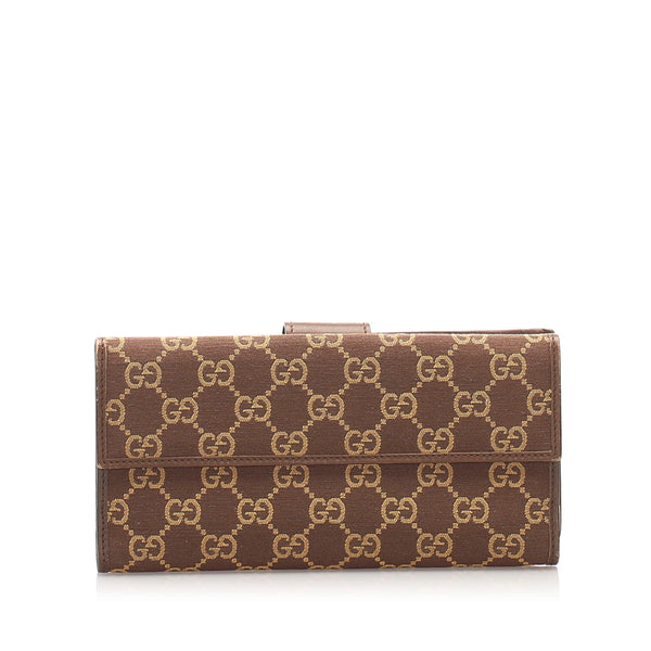 Brown Gucci GG Canvas Long Wallet