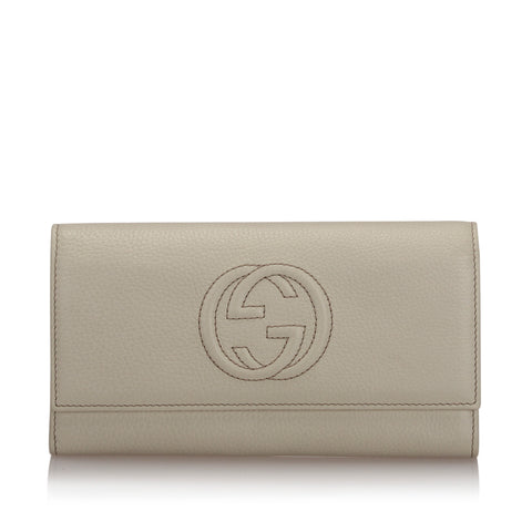 White Gucci Soho Continental Leather Wallet